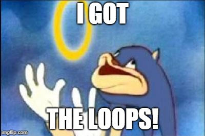 Sonic derp | I GOT THE LOOPS! | image tagged in sonic derp | made w/ Imgflip meme maker