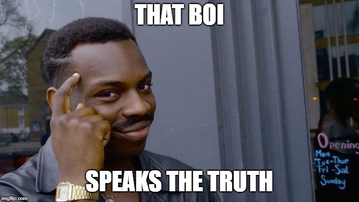 THAT BOI SPEAKS THE TRUTH | image tagged in memes,roll safe think about it | made w/ Imgflip meme maker