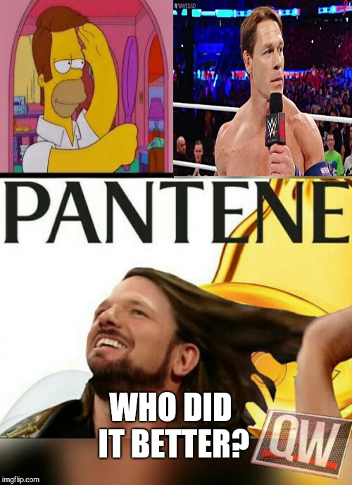 Funny WWE hairstyles | WHO DID IT BETTER? | image tagged in wwe,aj styles,john cena,funny haircut,who wore it better | made w/ Imgflip meme maker
