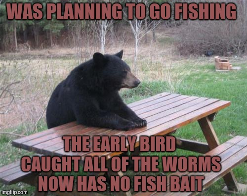 Bad Luck Bear | WAS PLANNING TO GO FISHING THE EARLY BIRD CAUGHT ALL OF THE WORMS NOW HAS NO FISH BAIT | image tagged in memes,bad luck bear,funny,fish,the early bird catches the worm | made w/ Imgflip meme maker