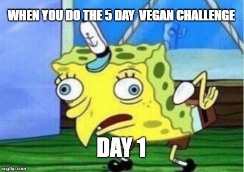 Mocking Spongebob Meme | WHEN YOU DO THE 5 DAY  VEGAN CHALLENGE DAY 1 | image tagged in memes,mocking spongebob | made w/ Imgflip meme maker