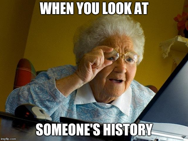 Grandma Finds The Internet Meme | WHEN YOU LOOK AT SOMEONE'S HISTORY | image tagged in memes,grandma finds the internet | made w/ Imgflip meme maker