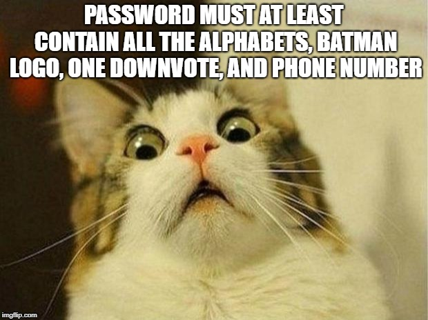 Scared Cat | PASSWORD MUST AT LEAST CONTAIN ALL THE ALPHABETS, BATMAN LOGO, ONE DOWNVOTE, AND PHONE NUMBER | image tagged in memes,scared cat | made w/ Imgflip meme maker