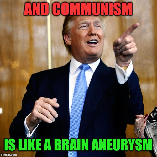 Donal Trump Birthday | AND COMMUNISM IS LIKE A BRAIN ANEURYSM | image tagged in donal trump birthday | made w/ Imgflip meme maker