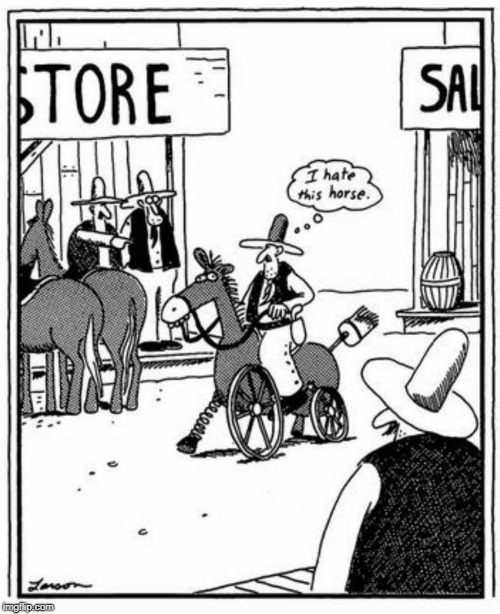 Some people and horses just don't click | image tagged in horse,funny,gary larson,cowboy,western,horses | made w/ Imgflip meme maker