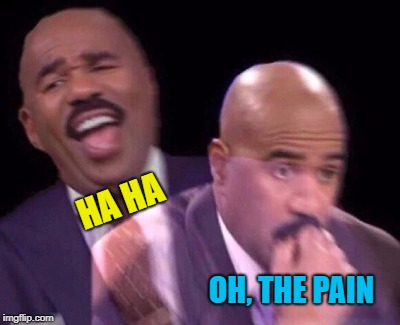 Steve Harvey Laughing Serious | HA HA OH, THE PAIN | image tagged in steve harvey laughing serious | made w/ Imgflip meme maker