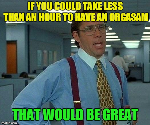 That Would Be Great Meme | IF YOU COULD TAKE LESS THAN AN HOUR TO HAVE AN ORGASAM THAT WOULD BE GREAT | image tagged in memes,that would be great | made w/ Imgflip meme maker