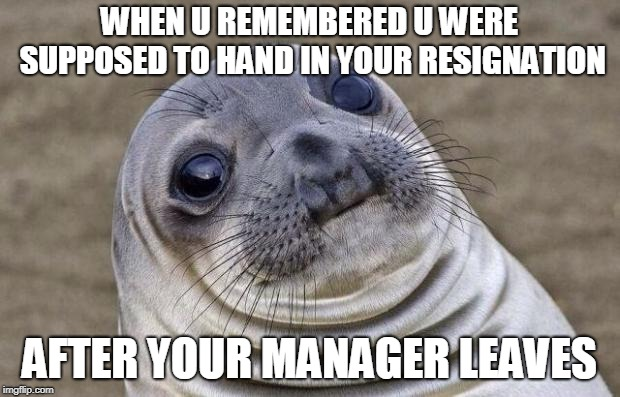 this same meme is in the letter as of right now | WHEN U REMEMBERED U WERE SUPPOSED TO HAND IN YOUR RESIGNATION AFTER YOUR MANAGER LEAVES | image tagged in memes,awkward moment sealion | made w/ Imgflip meme maker