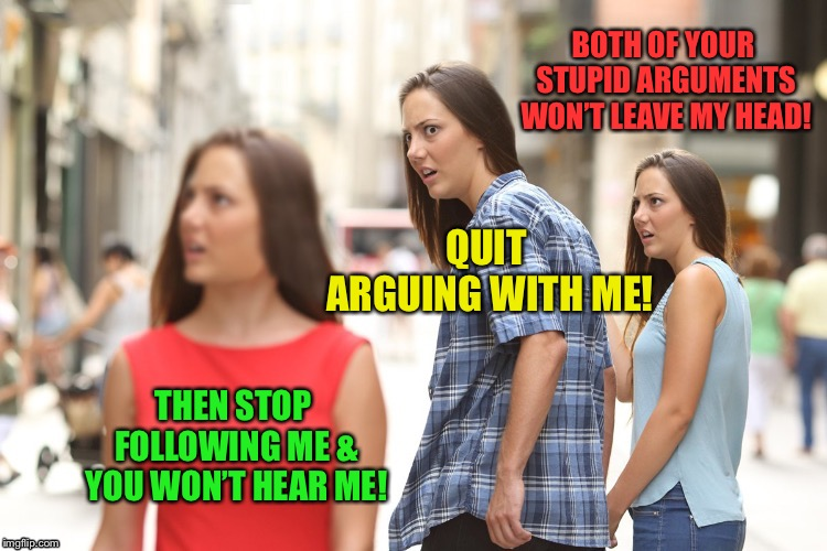 QUIT ARGUING WITH ME! THEN STOP FOLLOWING ME & YOU WON'T HEAR ME! BOTH OF YOUR STUPID ARGUMENTS WON'T LEAVE MY HEAD! | made w/ Imgflip meme maker