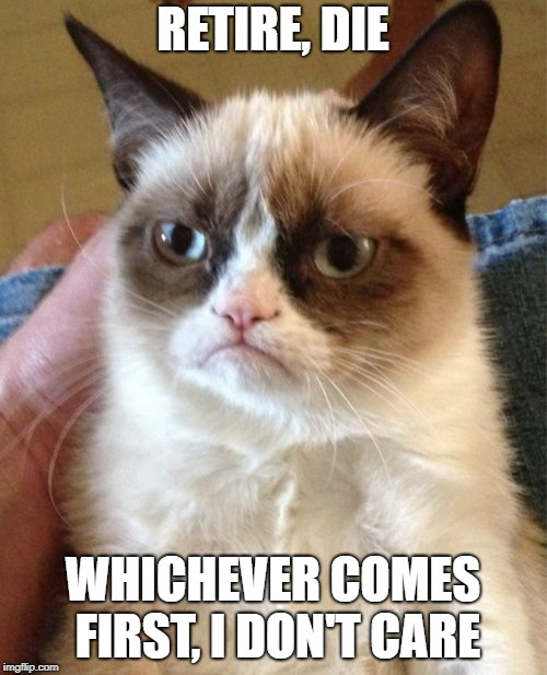 Grumpy Cat Meme | RETIRE, DIE WHICHEVER COMES FIRST, I DON'T CARE | image tagged in memes,grumpy cat | made w/ Imgflip meme maker