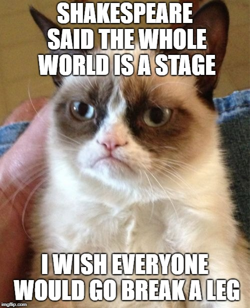 To Grump or not to Grump, that is not a question! | SHAKESPEARE SAID THE WHOLE WORLD IS A STAGE I WISH EVERYONE WOULD GO BREAK A LEG | image tagged in memes,grumpy cat,shakespeare | made w/ Imgflip meme maker