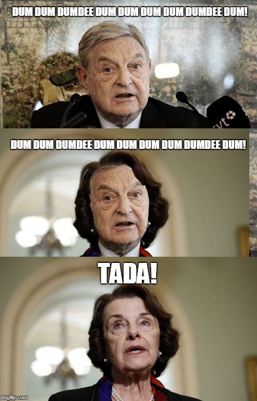 I knew it! Don't look so surprised! | DUM DUM DUMDEE DUM DUM DUM DUM DUMDEE DUM! DUM DUM DUMDEE DUM DUM DUM DUM DUMDEE DUM! TADA! | image tagged in funny,feinstein,soros | made w/ Imgflip meme maker