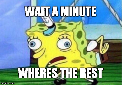 Meanwhile... | WAIT A MINUTE WHERES THE REST | image tagged in memes,mocking spongebob | made w/ Imgflip meme maker