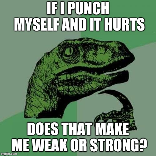 Philosoraptor | IF I PUNCH MYSELF AND IT HURTS DOES THAT MAKE ME WEAK OR STRONG? | image tagged in memes,philosoraptor | made w/ Imgflip meme maker