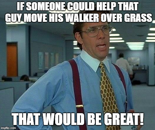 That Would Be Great Meme | IF SOMEONE COULD HELP THAT GUY MOVE HIS WALKER OVER GRASS THAT WOULD BE GREAT! | image tagged in memes,that would be great | made w/ Imgflip meme maker