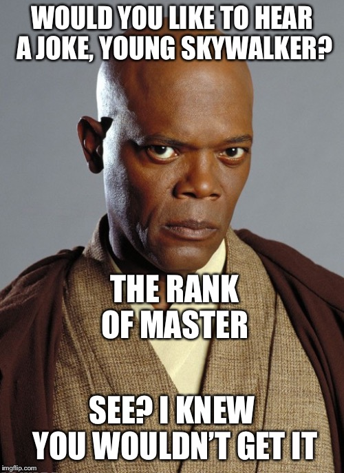 mace windu | WOULD YOU LIKE TO HEAR A JOKE, YOUNG SKYWALKER? SEE? I KNEW YOU WOULDN'T GET IT THE RANK OF MASTER | image tagged in mace windu | made w/ Imgflip meme maker