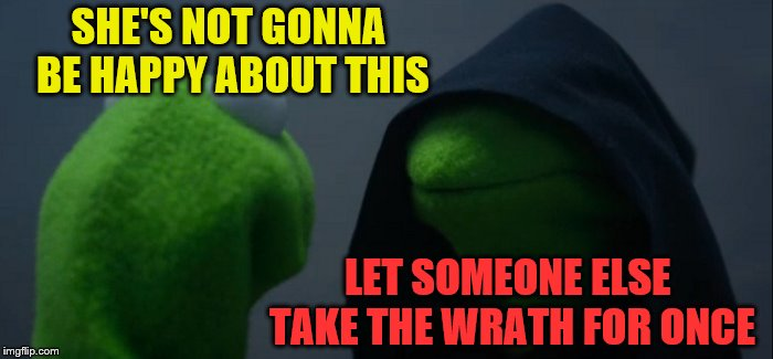 Evil Kermit Meme | SHE'S NOT GONNA BE HAPPY ABOUT THIS LET SOMEONE ELSE TAKE THE WRATH FOR ONCE | image tagged in memes,evil kermit | made w/ Imgflip meme maker