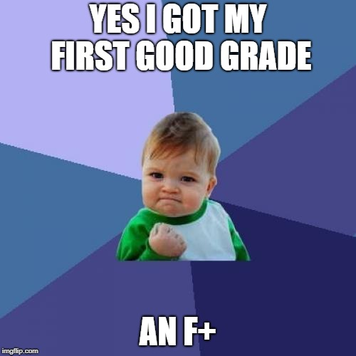 Success Kid Meme | YES I GOT MY FIRST GOOD GRADE AN F+ | image tagged in memes,success kid | made w/ Imgflip meme maker