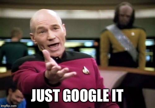 JUST GOOGLE IT | image tagged in memes,picard wtf | made w/ Imgflip meme maker