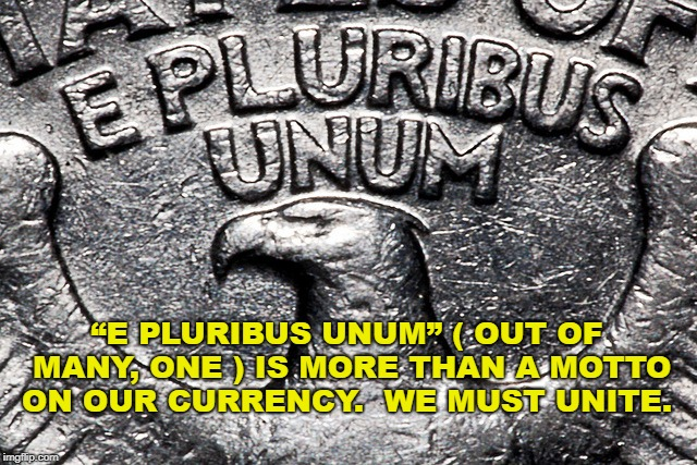 "E Pluribus Unum | ""E PLURIBUS UNUM"" ( OUT OF MANY, ONE ) IS MORE THAN A MOTTO ON OUR CURRENCY.  WE MUST UNITE. 