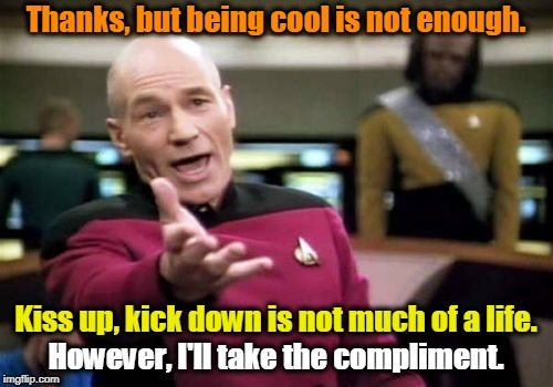 Picard Wtf Meme | Thanks, but being cool is not enough. However, I'll take the compliment. Kiss up, kick down is not much of a life. | image tagged in memes,picard wtf | made w/ Imgflip meme maker