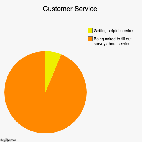 Customer Service | Being asked to fill out survey about service, Getting helpful service | image tagged in funny,pie charts | made w/ Imgflip chart maker