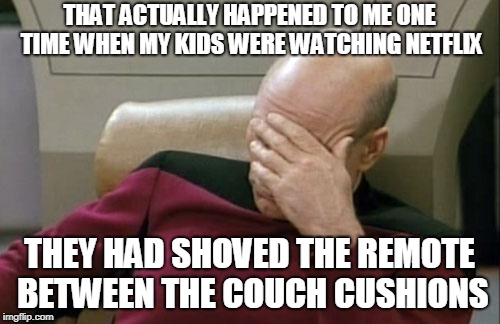 Captain Picard Facepalm Meme | THAT ACTUALLY HAPPENED TO ME ONE TIME WHEN MY KIDS WERE WATCHING NETFLIX THEY HAD SHOVED THE REMOTE BETWEEN THE COUCH CUSHIONS | image tagged in memes,captain picard facepalm | made w/ Imgflip meme maker