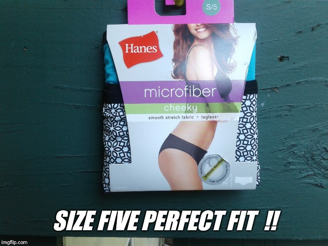 Hanes her way.. | SIZE FIVE PERFECT FIT  !! | image tagged in hanes her way | made w/ Imgflip meme maker
