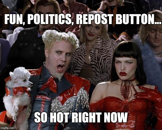 Fun or Politics or RePosts | FUN, POLITICS, REPOST BUTTON... SO HOT RIGHT NOW | image tagged in memes,mugatu so hot right now,imgflip | made w/ Imgflip meme maker