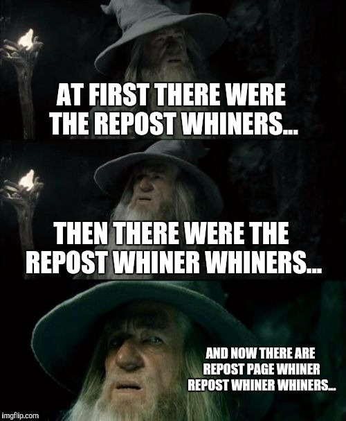 I'm confused too Gandalf. | AT FIRST THERE WERE THE REPOST WHINERS... THEN THERE WERE THE REPOST WHINER WHINERS... AND NOW THERE ARE REPOST PAGE WHINER REPOST WHINER WH | image tagged in memes,confused gandalf,gandalf the grey,funny | made w/ Imgflip meme maker