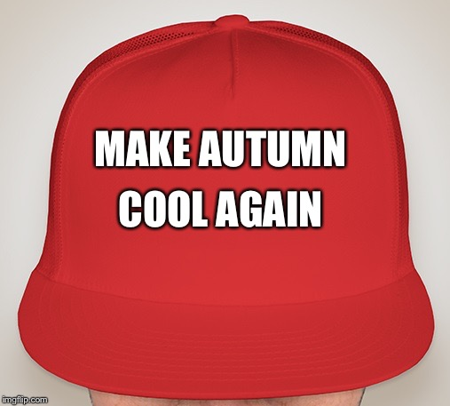 Trump Hat | MAKE AUTUMN COOL AGAIN | image tagged in trump hat | made w/ Imgflip meme maker