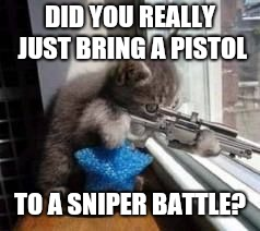 Sniper Cat | DID YOU REALLY JUST BRING A PISTOL TO A SNIPER BATTLE? | image tagged in sniper cat | made w/ Imgflip meme maker