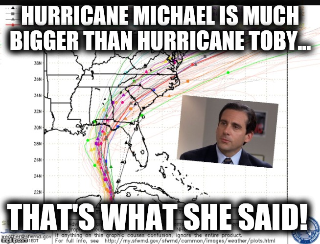 Hurricane Michael  | HURRICANE MICHAEL IS MUCH BIGGER THAN HURRICANE TOBY... THAT'S WHAT SHE SAID! | image tagged in hurricane michael,toby,the office,memes,funny,that's what she said | made w/ Imgflip meme maker