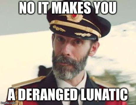 Captain Obvious | NO IT MAKES YOU A DERANGED LUNATIC | image tagged in captain obvious | made w/ Imgflip meme maker