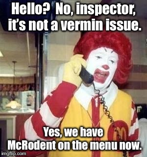 It comes in 6, 10 and 20 pack boxes for a limited time until supplies run out | Hello?  No, inspector, it's not a vermin issue. Yes, we have McRodent on the menu now. | image tagged in ronald mcdonald temp,mice,health inspector,mcrodents,limited time menu,funny memes | made w/ Imgflip meme maker