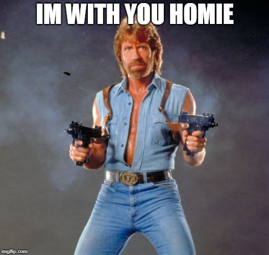 Chuck Norris Guns Meme | IM WITH YOU HOMIE | image tagged in memes,chuck norris guns,chuck norris | made w/ Imgflip meme maker