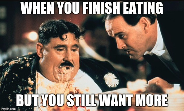 WHEN YOU FINISH EATING BUT YOU STILL WANT MORE | image tagged in thanks for making me watch monty python | made w/ Imgflip meme maker