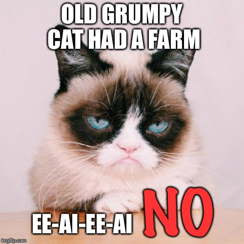 Grumpy Cat's nursery rhymes  | OLD GRUMPY CAT HAD A FARM EE-AI-EE-AI NO | image tagged in grumpy cat again,nursery rhymes,old mcdonald,no,cat memes | made w/ Imgflip meme maker