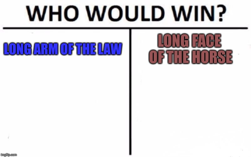 Who Would Win? Meme | LONG ARM OF THE LAW LONG FACE OF THE HORSE | image tagged in memes,who would win | made w/ Imgflip meme maker