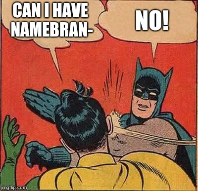 Batman Slapping Robin Meme | CAN I HAVE NAMEBRAN- NO! | image tagged in memes,batman slapping robin | made w/ Imgflip meme maker