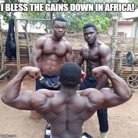 Toto |  I BLESS THE GAINS DOWN IN AFRICA! | image tagged in africa,gains,gym,muscle,rock,music | made w/ Imgflip meme maker