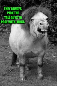 ugly horse | THEY ALWAYS PICK THE TALL GUYS TO POSE WITH. JERKS | image tagged in ugly horse | made w/ Imgflip meme maker