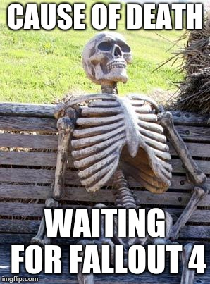 Waiting Skeleton Meme | CAUSE OF DEATH WAITING FOR FALLOUT 4 | image tagged in memes,waiting skeleton | made w/ Imgflip meme maker