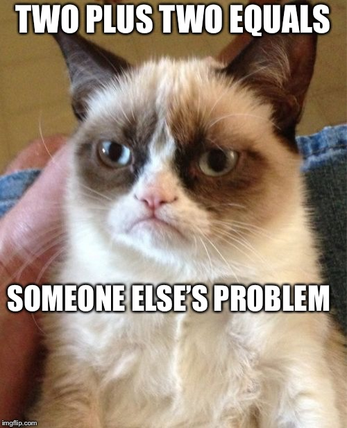 Grumpy Cat | TWO PLUS TWO EQUALS SOMEONE ELSE'S PROBLEM | image tagged in memes,grumpy cat,not my problem,math | made w/ Imgflip meme maker