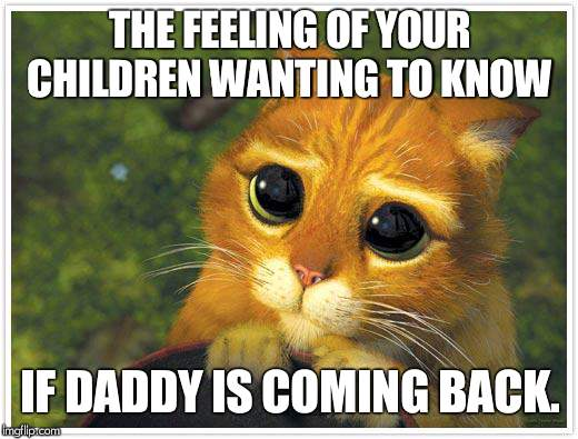 Shrek Cat Meme | THE FEELING OF YOUR CHILDREN WANTING TO KNOW IF DADDY IS COMING BACK. | image tagged in memes,shrek cat | made w/ Imgflip meme maker