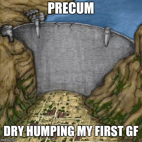 PRECUM DRY HUMPING MY FIRST GF | image tagged in water dam meme | made w/ Imgflip meme maker