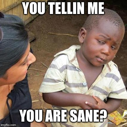 Third World Skeptical Kid Meme | YOU TELLIN ME YOU ARE SANE? | image tagged in memes,third world skeptical kid | made w/ Imgflip meme maker