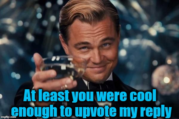 Leonardo Dicaprio Cheers Meme | At least you were cool enough to upvote my reply | image tagged in memes,leonardo dicaprio cheers | made w/ Imgflip meme maker