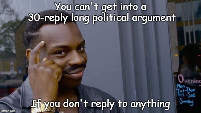 You can't get into a 30-reply long political argument If you don't reply to anything | image tagged in memes,roll safe think about it | made w/ Imgflip meme maker