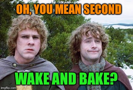 Second Breakfast | OH, YOU MEAN SECOND WAKE AND BAKE? | image tagged in second breakfast | made w/ Imgflip meme maker